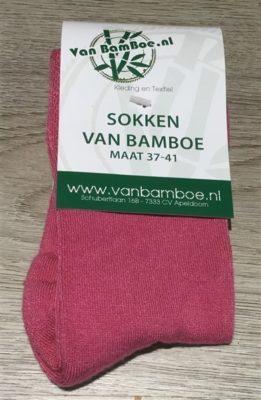 Bamboe sokken maat 37-41 fuchsia - S34