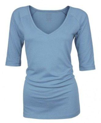 Bamboe dames shirt V-hals met ¾ mouw - AF blue