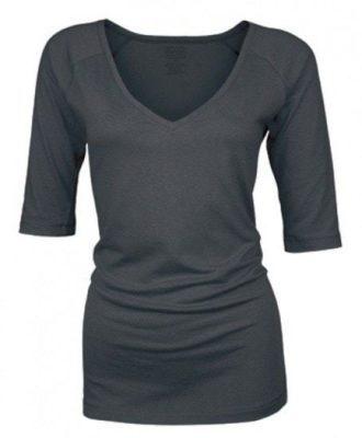 Bamboe dames shirt V-hals met ¾ mouw-antracite