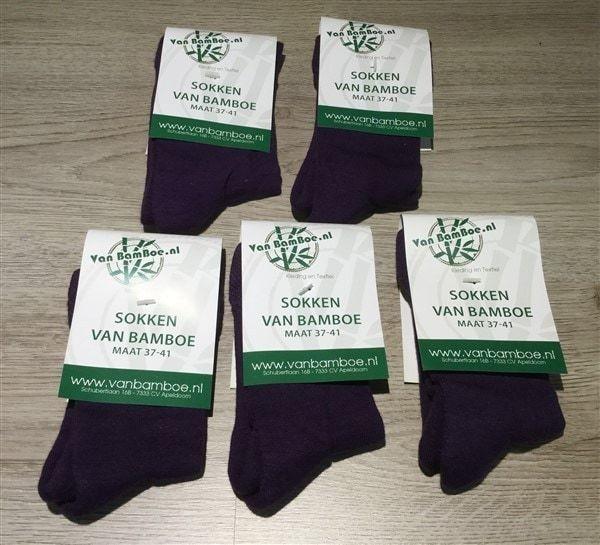 Bamboe sokken maat 37-41 paars 5x - S35
