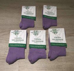 Bamboe sokken maat 37-41 lavendel 5x - S40