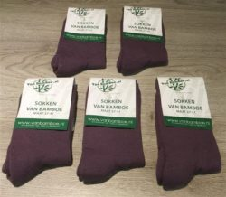 Bamboe sokken 5 paar maat 37-41 plum - S41