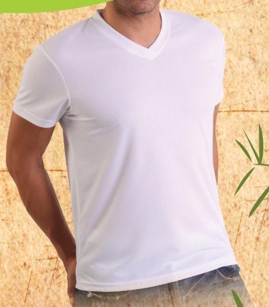 Bamboe heren t-shirt V-hals wit