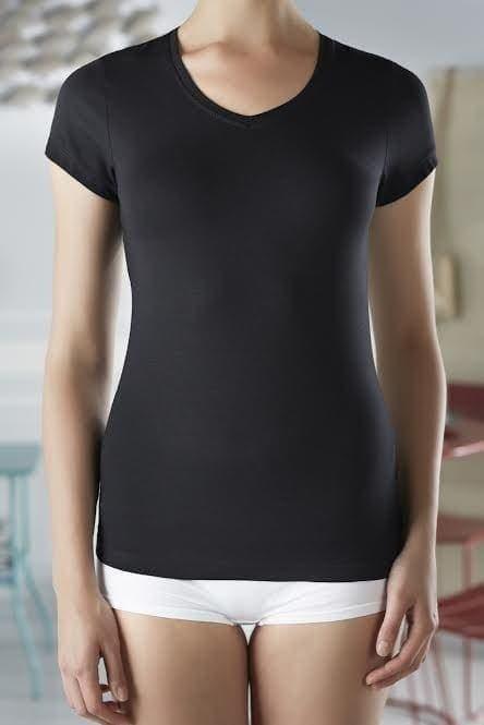 Bamboe dames V-hals t-shirt zwart