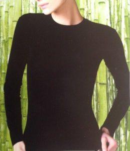 Bamboe (onder)shirt - lange mouw zwart