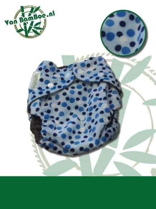 Bamboe luier - blauw met blauwe bolletjes