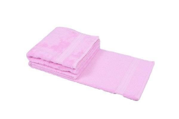 Bamboe handdoek roze 50x100cm