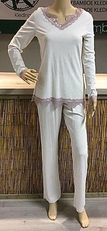Bamboe huispak / pyjama natural met kant
