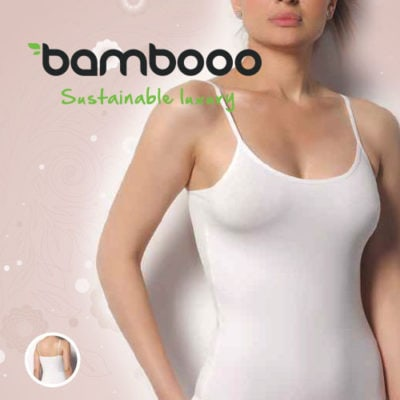 Bamboe hemd met bandjes dames wit
