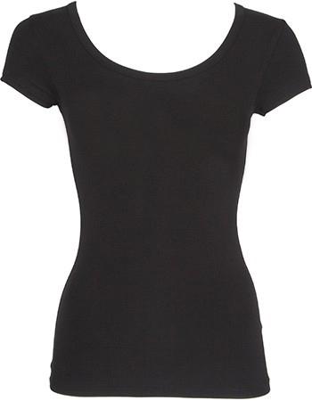 Bamboe shirt dames ronde hals zwart