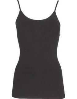 Bamboe hemd met bandjes dames zwart