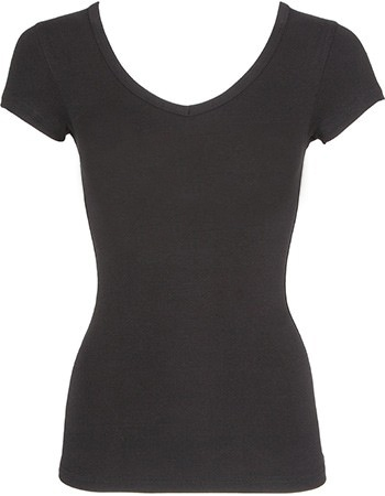 Bamboe shirt dames V-hals zwart