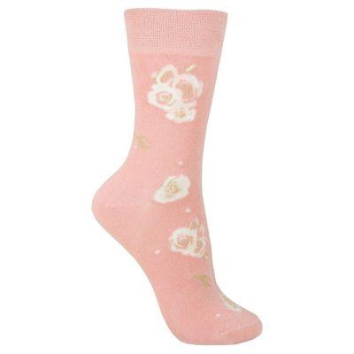 Dames bamboe sok roze met bloemmotief